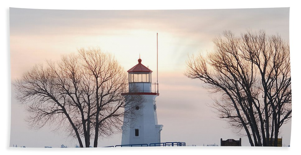 Landscape Beach Towel featuring the photograph Cheboygan Harbor Light by Michael Peychich