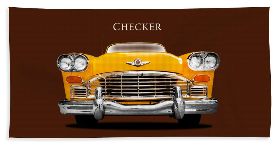 Checker Cab Beach Towel featuring the photograph Checker Cab by Mark Rogan