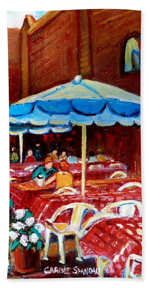 Montreal Beach Towel featuring the painting Checkered Tablecloths by Carole Spandau