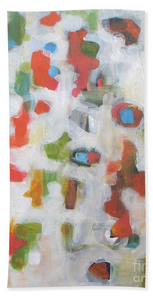 Abstract Beach Towel featuring the painting Cheerfulness by Vesna Antic