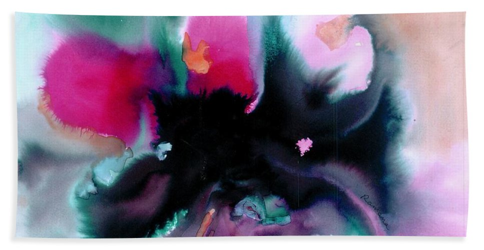 Abstract Beach Towel featuring the painting Cheers by Ramana Karkus
