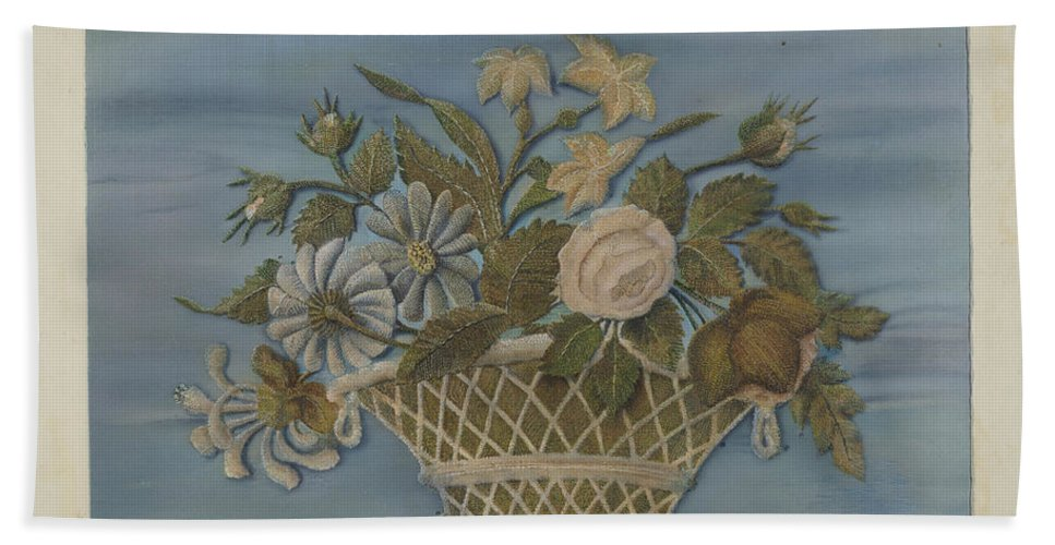 Beach Towel featuring the drawing Chenille Embroidery by O.a. Kirby