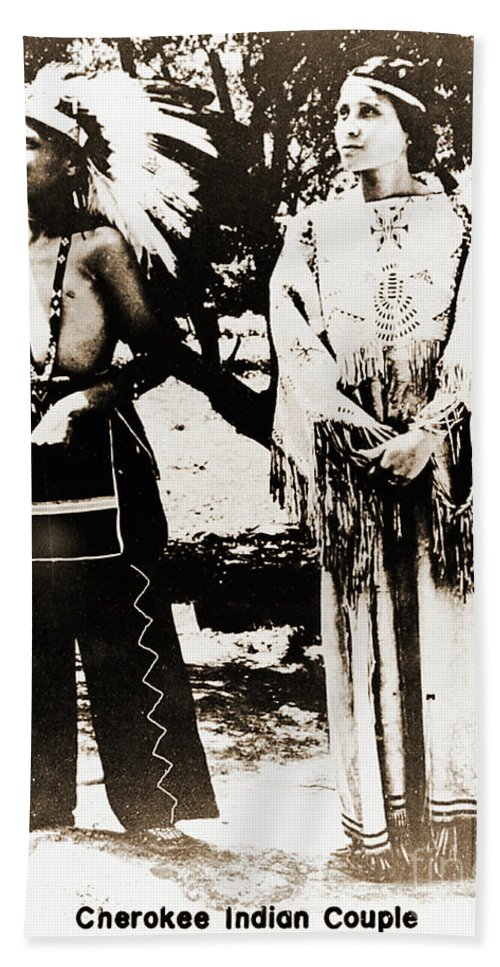 Native Beach Towel featuring the photograph Cherokee Indian Couple by Gary Wonning