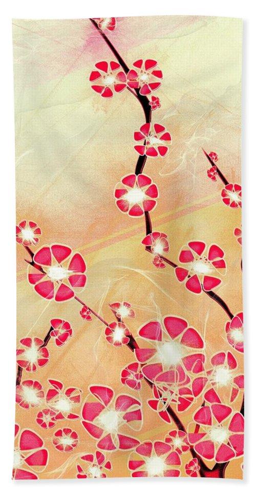 Decorative Beach Towel featuring the digital art Cherry Blossom by Anastasiya Malakhova