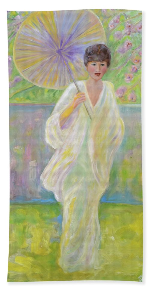 Japanese Beach Towel featuring the painting Cherry Blossom Time by Verlaine Crawford