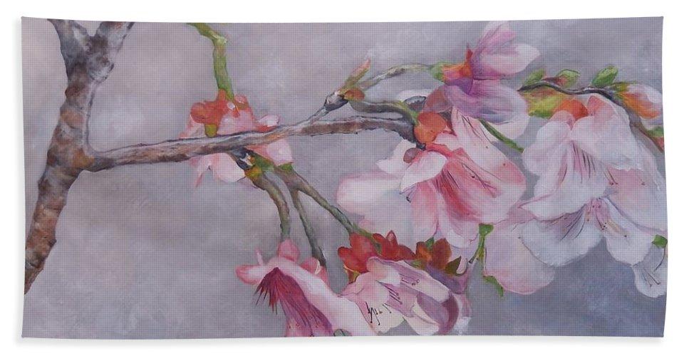 Japanese Cherry Blossom Beach Towel featuring the painting Japanese Cherry Blossom Tree by Graciela Castro