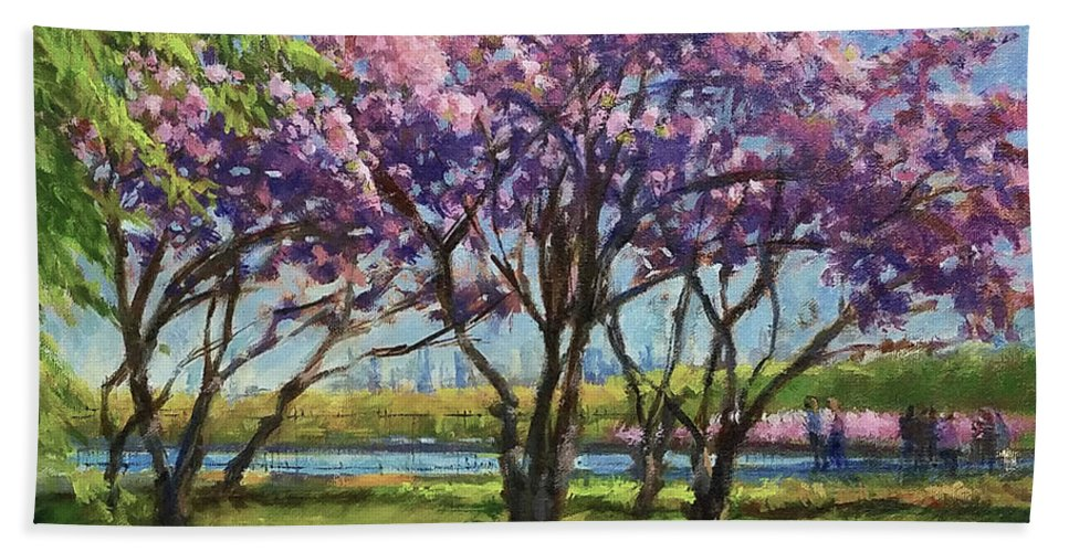 New York Landscape Beach Sheet featuring the painting Cherry Blossoms, Central Park by Peter Salwen