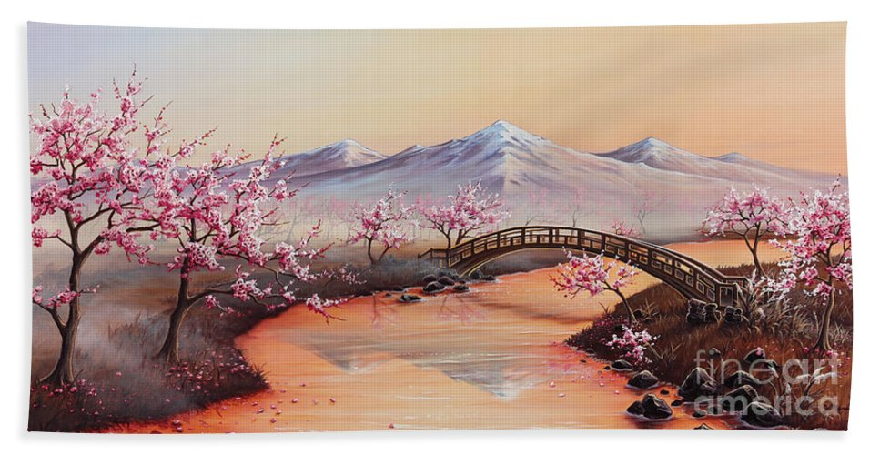 Landscape Beach Towel featuring the painting Cherry Blossoms In The Mist - Revisited by Joe Mandrick