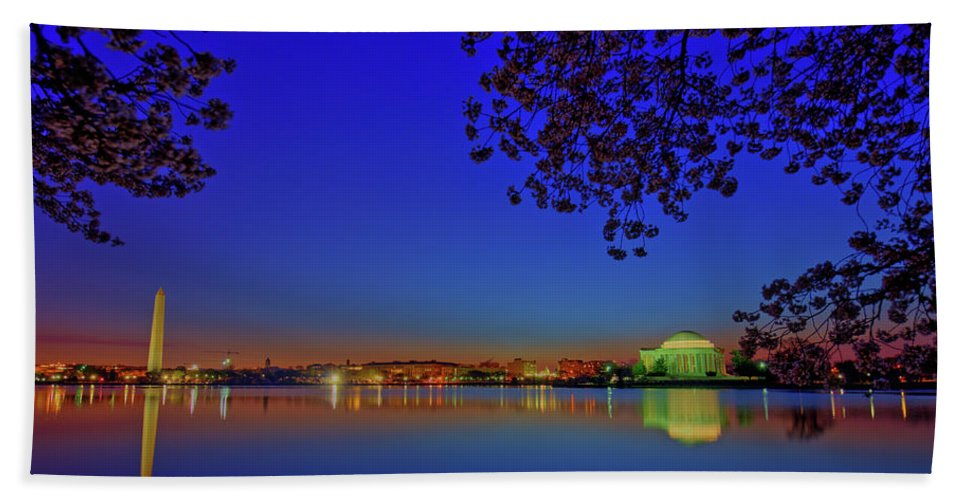Washington Dc Beach Towel featuring the photograph Cherry Blossoms Sunrise by Craig Fildes