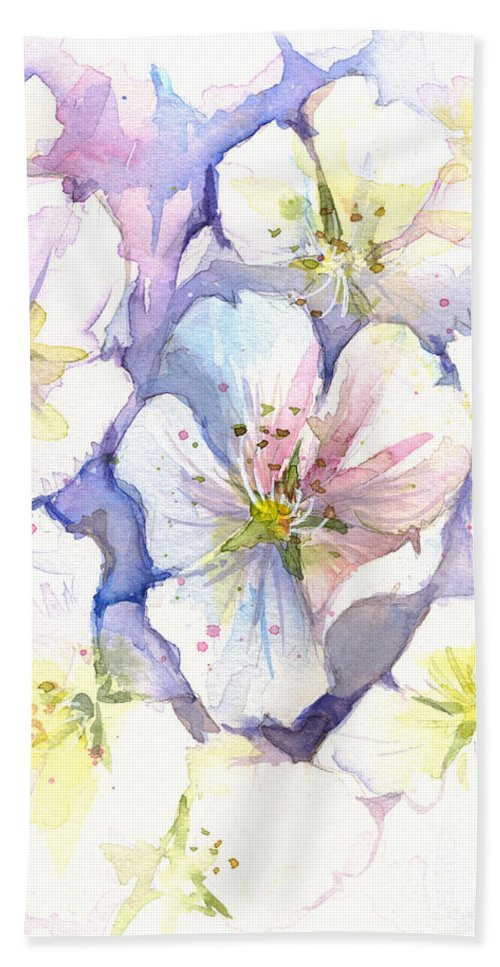 Cherry Blossom Beach Towel featuring the painting Cherry Blossoms Watercolor by Olga Shvartsur