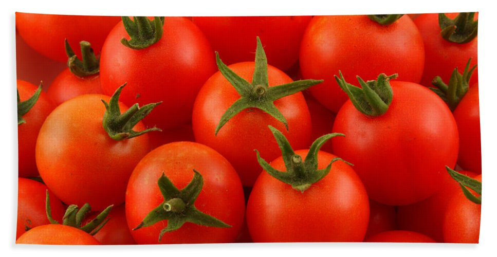 Cherry Tomatoes Beach Towel featuring the photograph Cherry Tomatoes Fine Art Food Photography by James BO Insogna