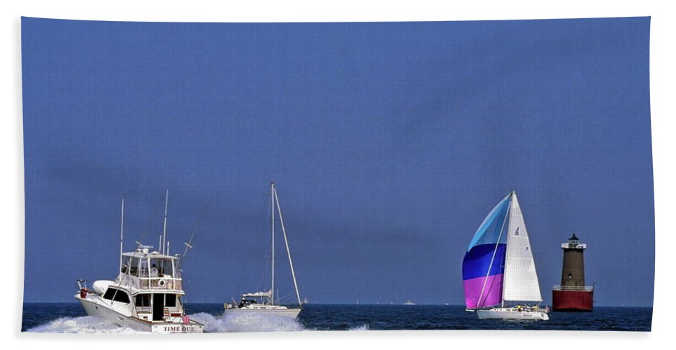 Motoryacht Speeding Past Sailboats Beach Towel featuring the photograph Chesapeake Bay Action by Sally Weigand