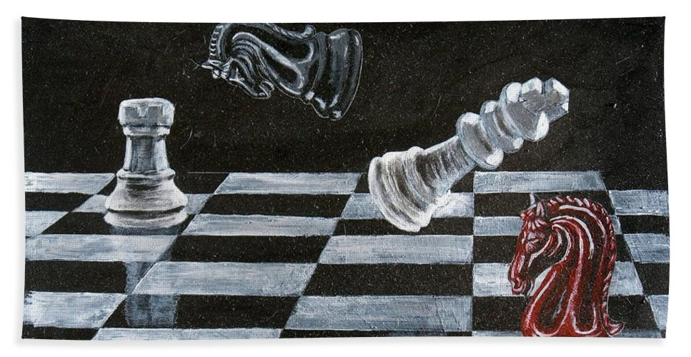 Chess Beach Towel featuring the painting Chess by Richard Le Page