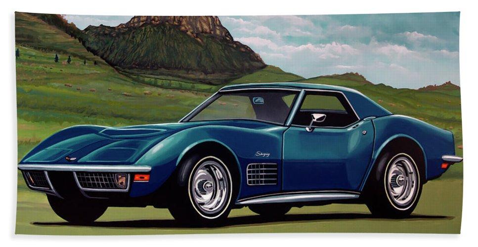 Chevrolet Corvette Stingray Beach Towel featuring the painting Chevrolet Corvette Stingray 1971 Painting by Paul Meijering
