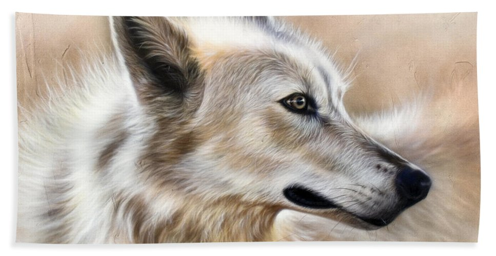 Acrylic Beach Towel featuring the painting Cheyenne by Sandi Baker