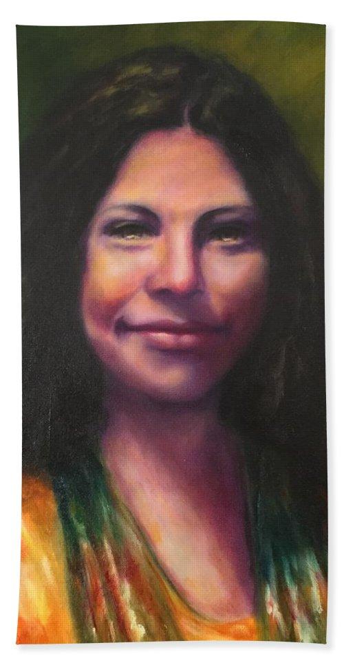 Cheyenne Hernandez Beach Towel featuring the painting Cheyenne by Shannon Grissom