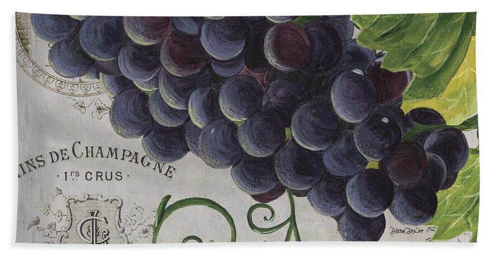 Grapes Beach Towel featuring the painting Vins de Champagne 2 by Debbie DeWitt