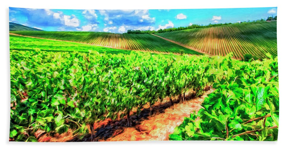 Chianti Beach Towel featuring the painting Chianti Vineyard In Tuscany by Dominic Piperata
