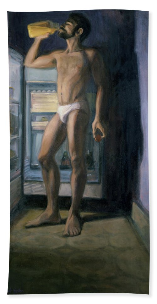 Male Nude Beach Towel featuring the painting Chiaroscuro Contrapusto Tropicana by Sarah Yuster