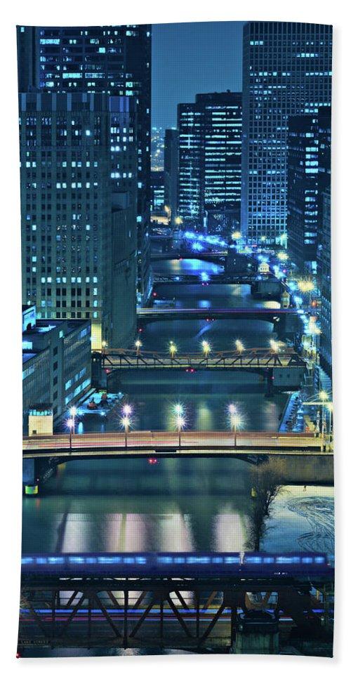 Chicago Beach Towel featuring the photograph Chicago Bridges by Steve Gadomski