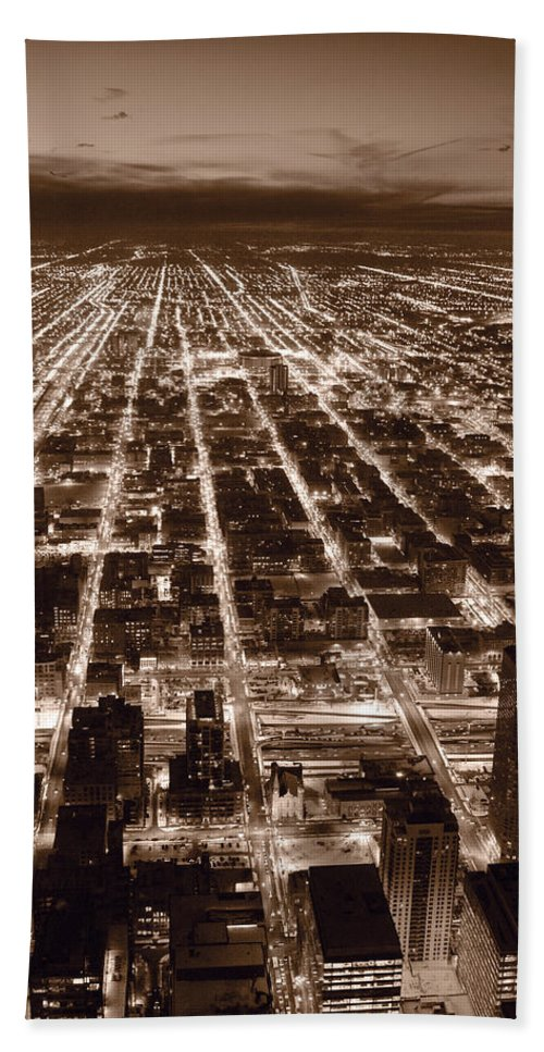 Aerial Beach Towel featuring the photograph Chicago City Lights West B W by Steve Gadomski