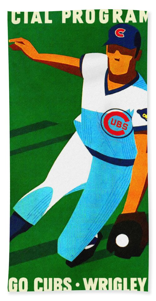 Chicago Cubs Beach Towel featuring the painting Chicago Cubs 1972 Official Program by John Farr