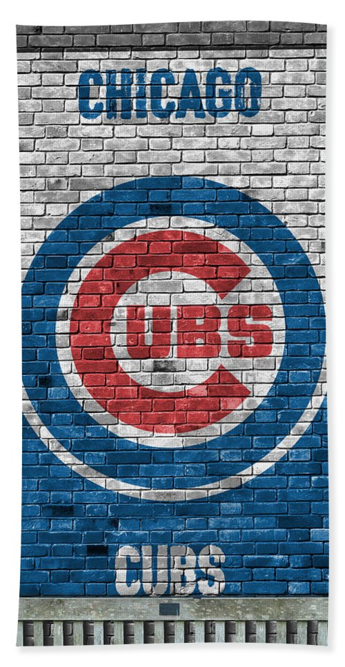 Cubs Beach Towel featuring the painting Chicago Cubs Brick Wall by Joe Hamilton