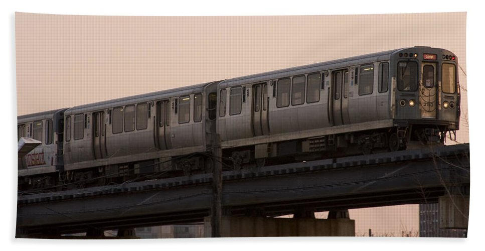 Chicago Windy City El Elevated Train Urban Metro Passanger Transport Transportation Beach Towel featuring the photograph Chicago El by Andrei Shliakhau