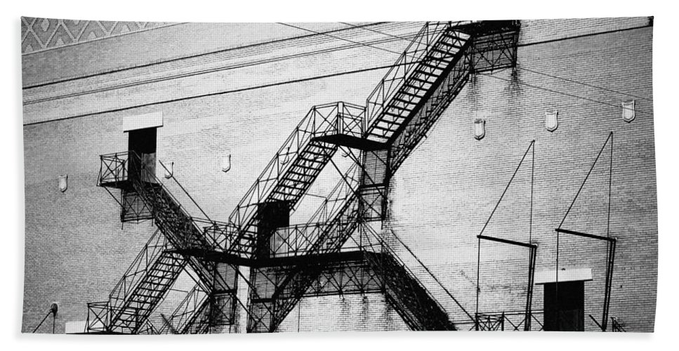 Chicago Beach Towel featuring the photograph Chicago Fire Escapes Landscape by Kyle Hanson
