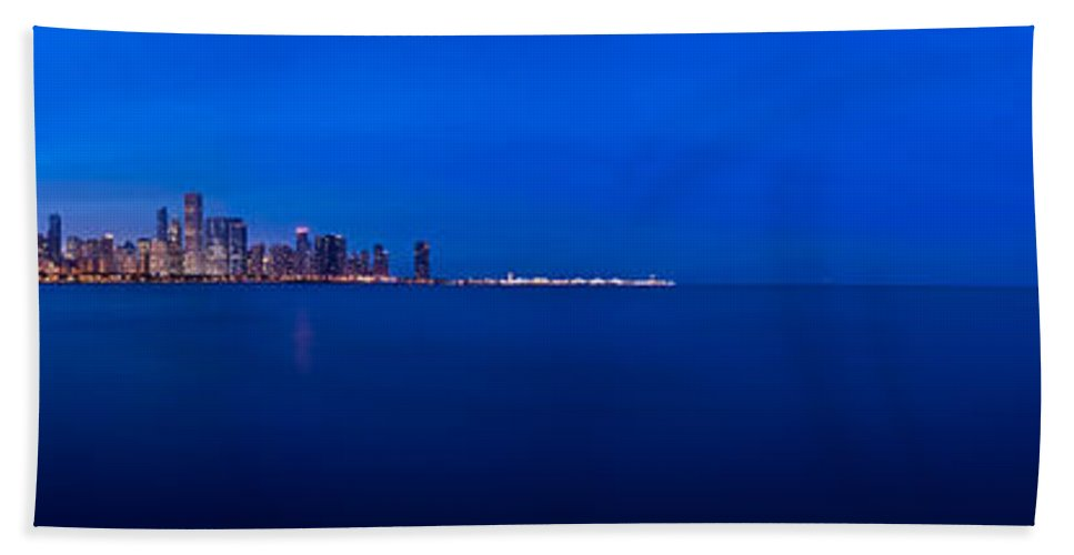 Architecture Beach Towel featuring the photograph Chicago Lakefront Ultra Wide Hd by Steve Gadomski