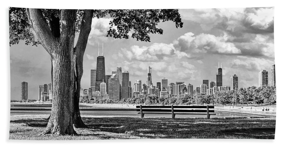 Chicago Beach Towel featuring the photograph Chicago North Skyline Park Black And White by Christopher Arndt