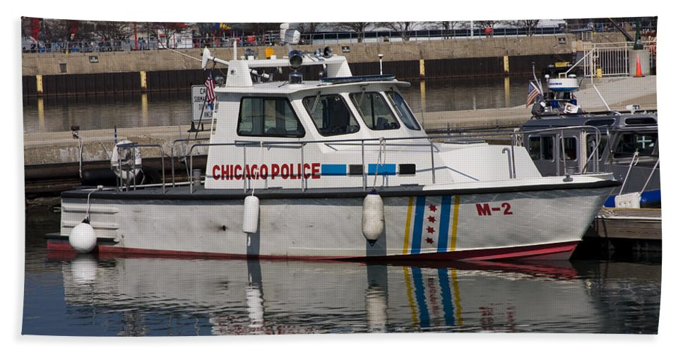 Chicago Police Windy City Water Lake Michigan Reflection Boat White Blue Beach Towel featuring the photograph Chicago Police by Andrei Shliakhau