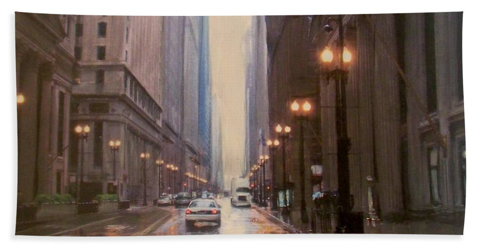 Chicago Beach Towel featuring the painting Chicago Rainy Street by Anita Burgermeister