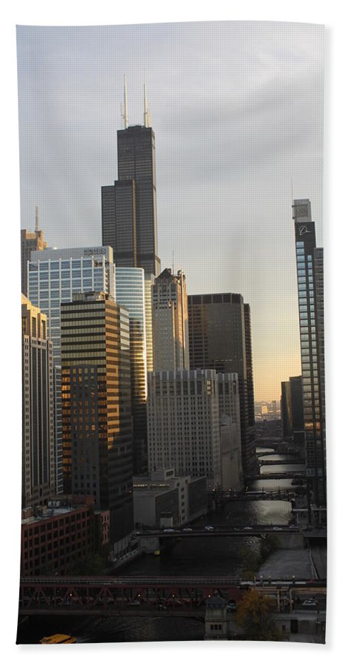 Chicago Beach Towel featuring the photograph Chicago River View by Lauri Novak