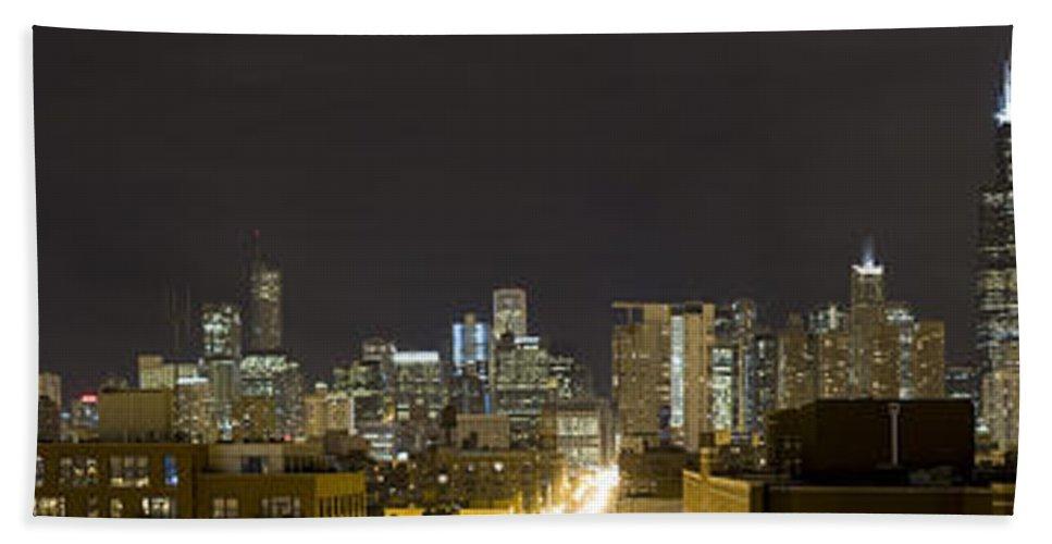 City Sky Skyline Wind Windy Windycity Il Chicago Night Dark Light Lights Street Building Tall House Beach Towel featuring the photograph Chicago Skyline by Andrei Shliakhau