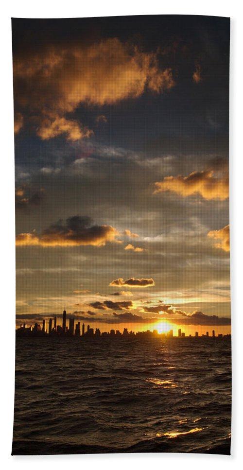 Boat Beach Towel featuring the photograph Chicago Skyline Sunset by Steve Gadomski