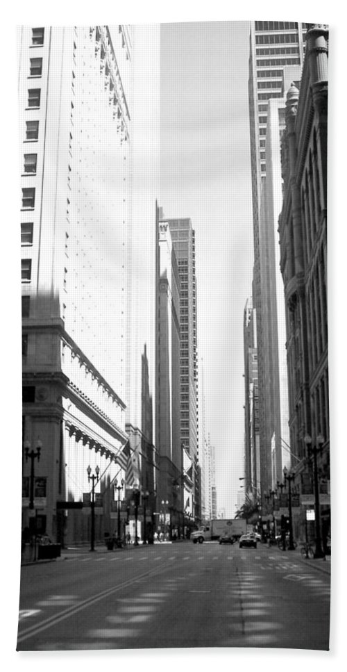 Chicago Beach Towel featuring the photograph Chicago Street With Flags B-w by Anita Burgermeister