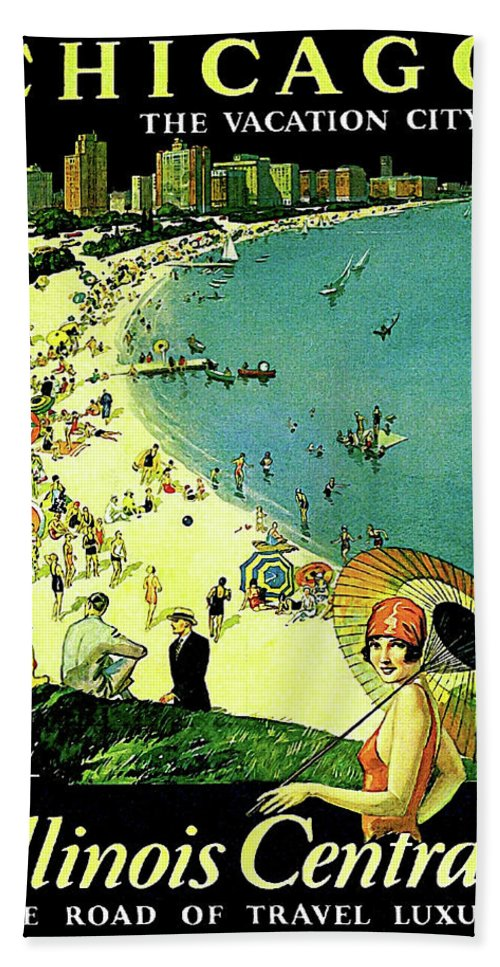 Chicago Beach Towel featuring the painting Chicago, Vacation City, Areal View On The Beach by Long Shot