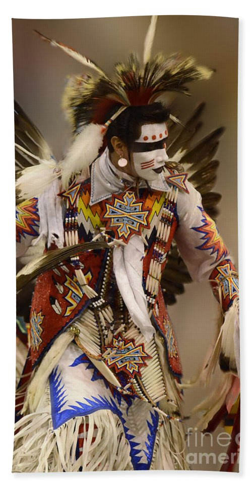 Pow Wow Beach Towel featuring the photograph Pow Wow Chicken Dancer 12 by Bob Christopher
