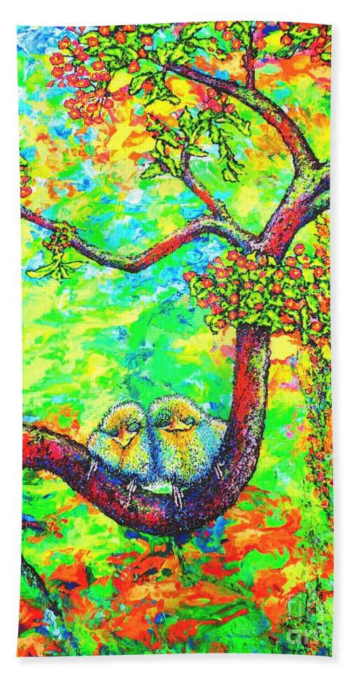 Chicks Beach Towel featuring the painting Chicks by Viktor Lazarev