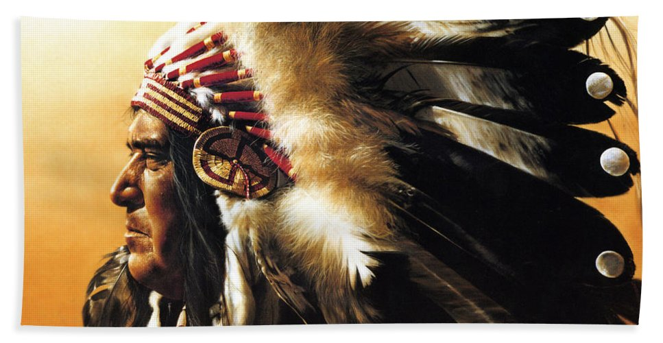 Native American Beach Towel featuring the painting Chief by Greg Olsen