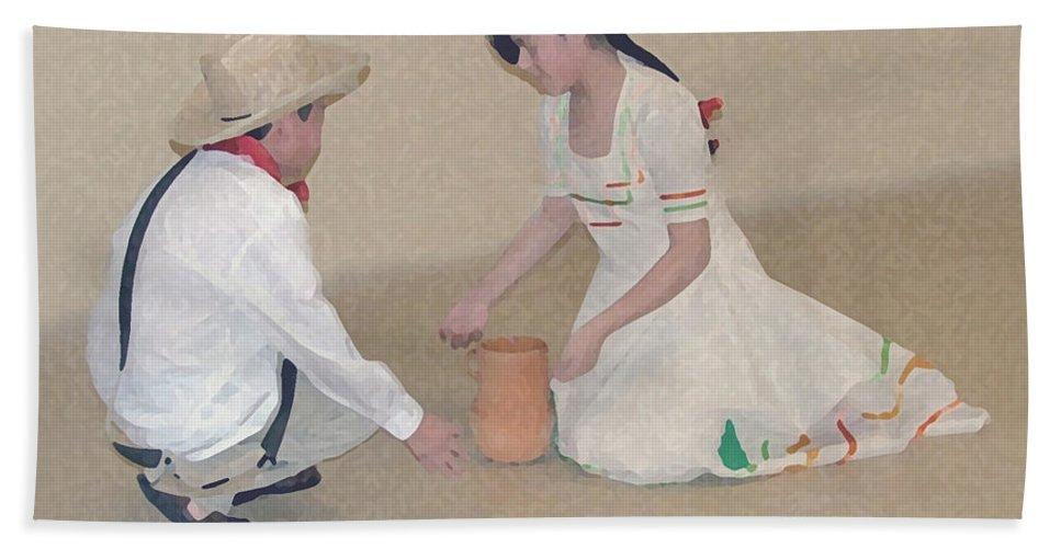 Children Beach Towel featuring the digital art Children Playing by Robert Meanor