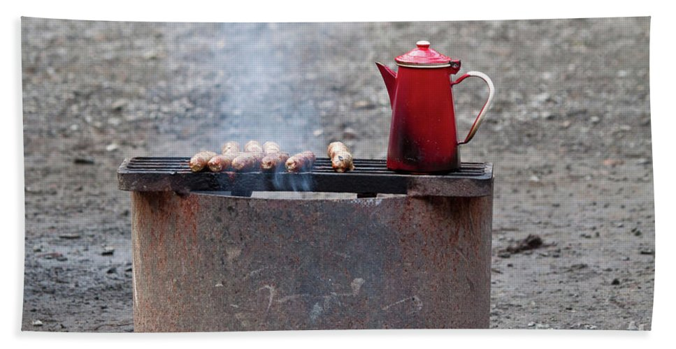 Sausages Beach Towel featuring the photograph Chilly Morning by Louise Heusinkveld
