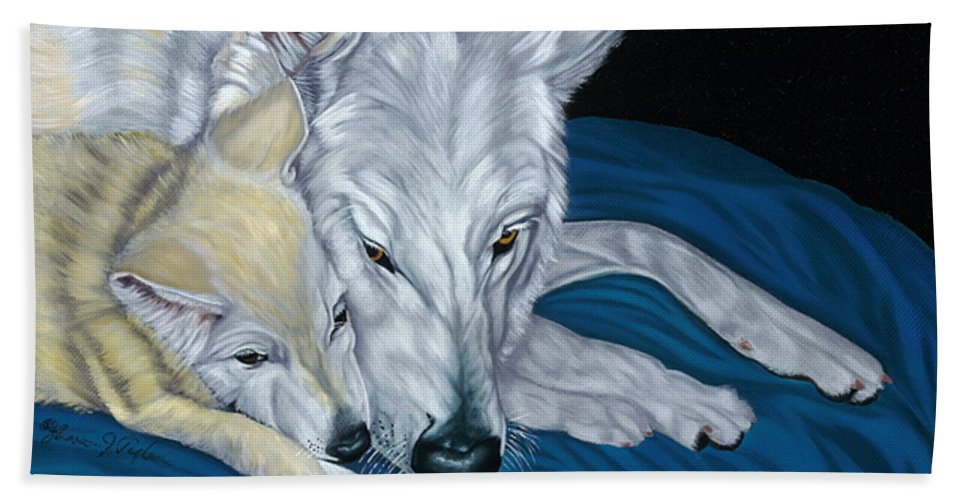 Animal Beach Towel featuring the painting Chimaya And Dakota by Lana Tyler
