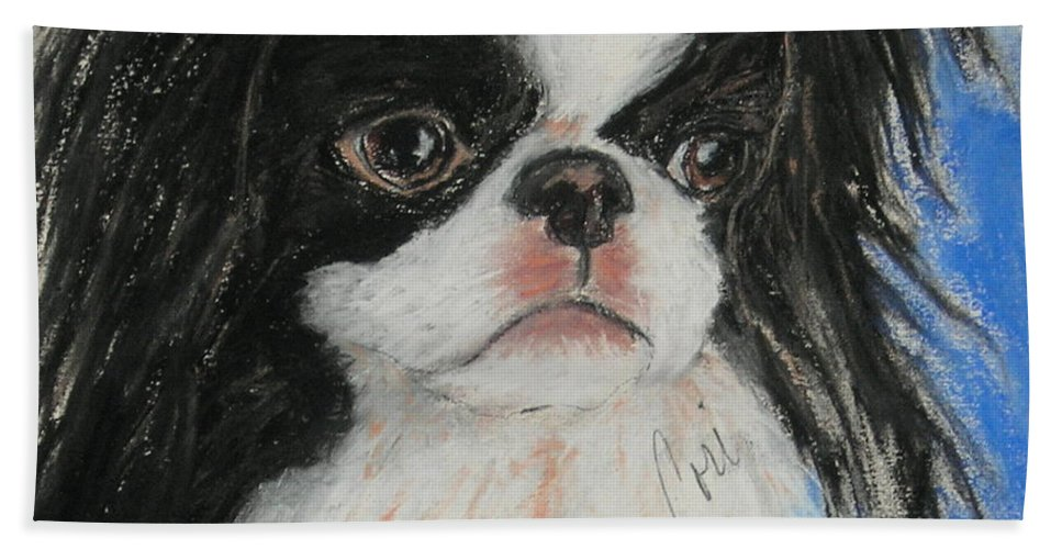 Japanese Chin Beach Towel featuring the drawing Chin-sational by Cori Solomon