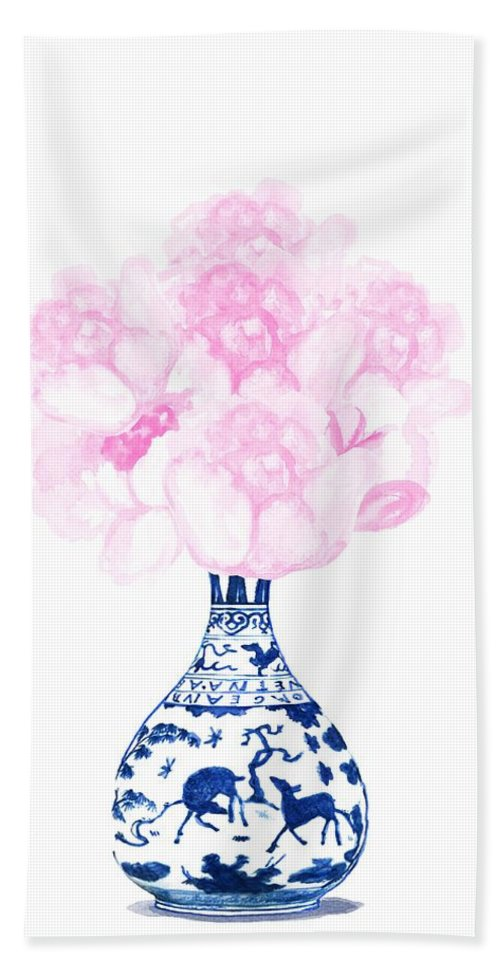 Chinoiserie Beach Towel featuring the painting China Blue Ming Vase With Peony by Green Palace