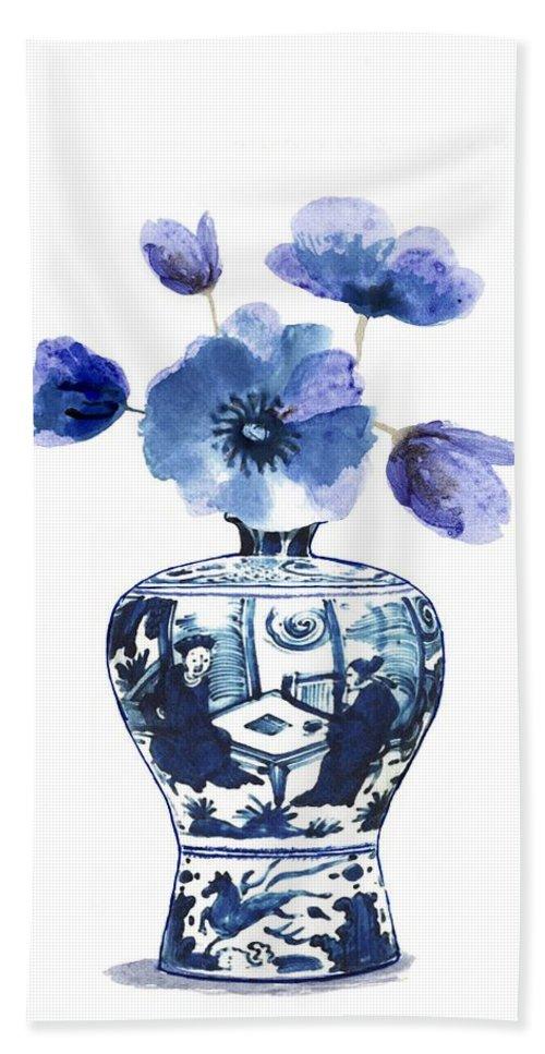 China Vase Beach Towel featuring the painting China Blue Vase With Poppy Flower by Green Palace