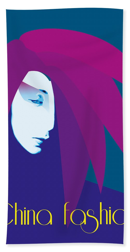 China Girl Beach Towel featuring the digital art China Girl Blue by Quim Abella