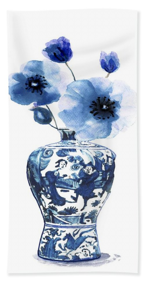 China Vase Beach Towel featuring the painting China Ming Vase With Flower by Green Palace
