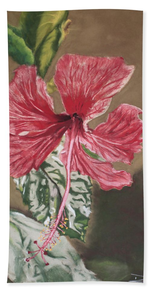 Flower Beach Towel featuring the painting China Rose by D Turner